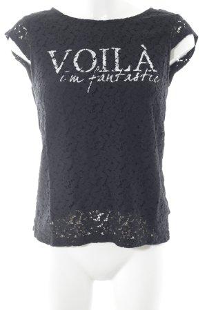 Edc Esprit Print-Shirt schwarz-weiß Schriftzug gedruckt Casual-Look