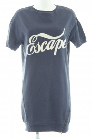 Edc Esprit Sweater Dress white-steel blue printed lettering athletic style