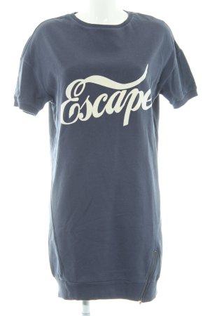 Edc Esprit Pulloverkleid weiß-stahlblau Schriftzug gedruckt sportlicher Stil