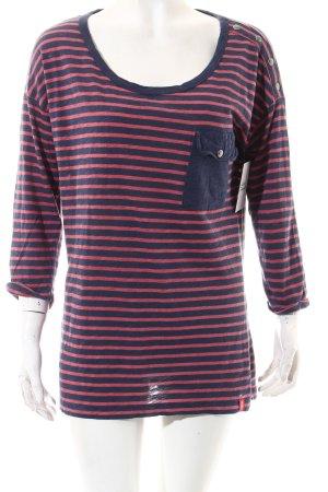 Edc Esprit Shirt dunkelblau-rostrot Streifenmuster Casual-Look