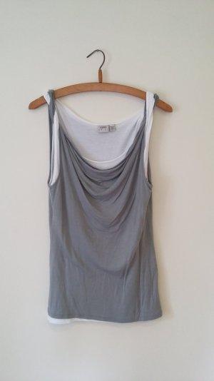 Edc Esprit, Shirt, grau, weiß, edel bis sportlich, Wasserfallausschnitt