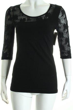 Edc Esprit Shirt schwarz Materialmix-Look