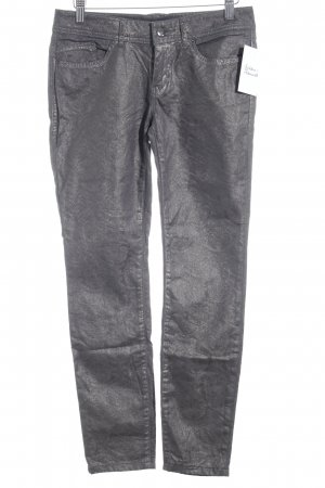 Edc Esprit Skinny Jeans grau Ornamentenmuster Glanz-Optik