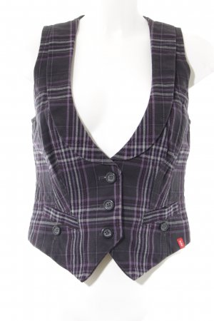 Edc Esprit Knitted Vest black-purple check pattern casual look