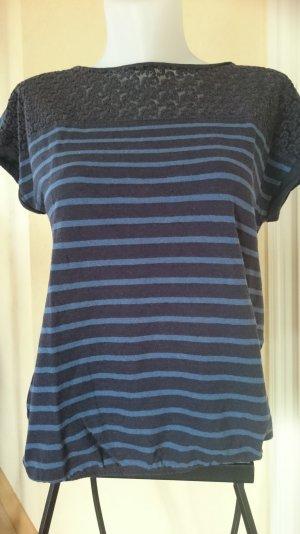 Edc / Esprit T-shirt Gr M Blau gestreift mit Spitze