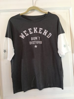edc Esprit T-Shirt grau / weiß Gr. M