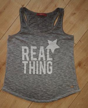 EDC Esprit Tanktop Trägertop Shirt Real Thing Sommer Festival Rockabily Grau Meliert XS 34
