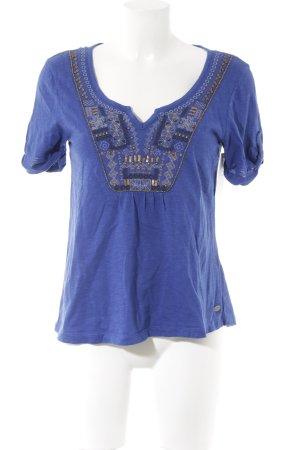 Edc Esprit Tunikabluse blau abstraktes Muster Ethno-Look