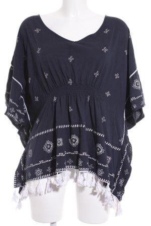 Edc Esprit Tunikabluse dunkelblau-weiß Hippie-Look