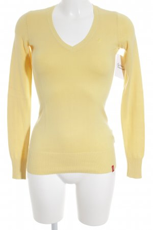 Edc Esprit V-Ausschnitt-Pullover blassgelb Casual-Look