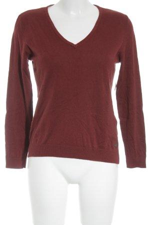 Edc Esprit V-Ausschnitt-Pullover dunkelrot schlichter Stil