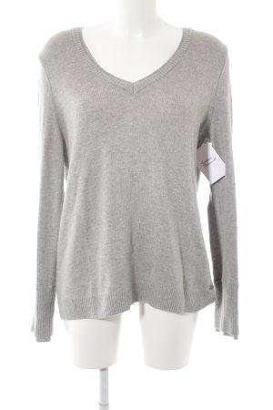 Edc Esprit V-Ausschnitt-Pullover hellgrau Casual-Look