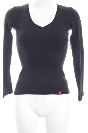 Edc Esprit V-Ausschnitt-Pullover schwarz Casual-Look
