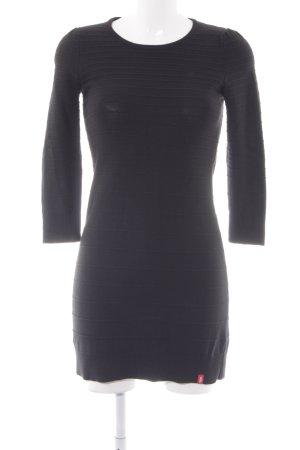 Edc Esprit Wollkleid schwarz Streifenmuster Casual-Look
