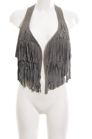 edc Fringed Vest light grey extravagant style