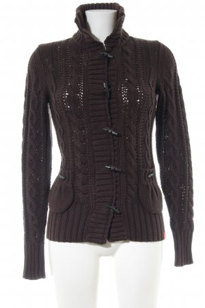 edc Coarse Knitted Jacket brown cable stitch casual look