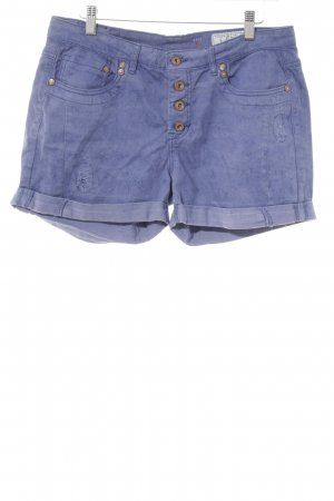 edc High-Waist-Shorts dunkelblau Used-Optik