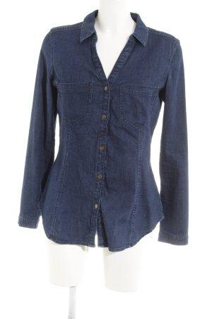 edc Camisa vaquera azul oscuro look casual