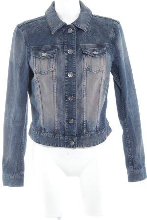 edc Jeansjacke stahlblau-altrosa Jeans-Optik