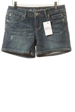 Edc Jeansshorts dunkelblau Used-Optik