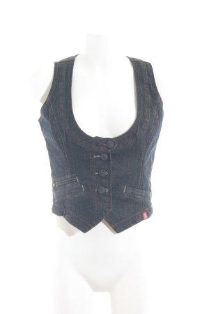 edc Jeansweste dunkelblau Jeans-Optik