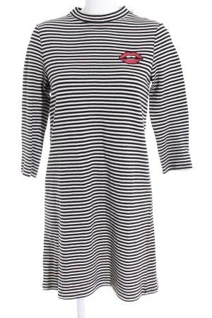 edc Jerseykleid schwarz-weiß Streifenmuster Skater-Look