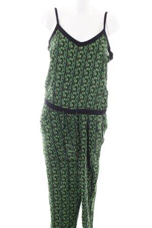 edc Jumpsuit grün-schwarz Allover-Druck Casual-Look
