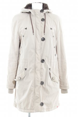 edc Hooded Coat cream-grey brown casual look