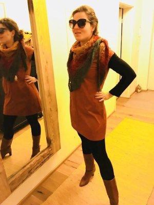 Edc Kleid in Terrakotta rot Velours