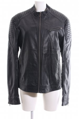 edc Faux Leather Jacket black quilting pattern casual look