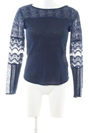 edc Langarm-Bluse blau meliert Business-Look
