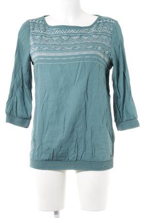 edc Langarm-Bluse kadettblau-weiß Romantik-Look