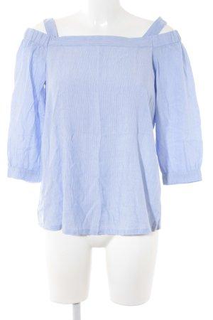 edc Langarm-Bluse stahlblau-weiß Streifenmuster Boho-Look