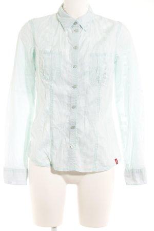edc Langarm-Bluse weiß-blassgrün Streifenmuster Casual-Look