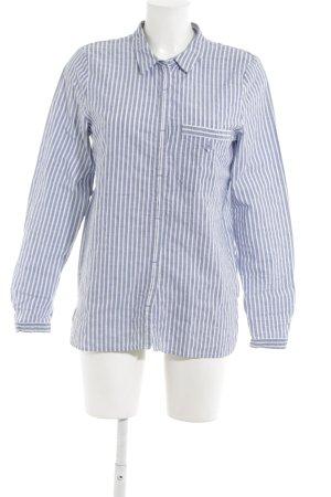 edc Langarmhemd kornblumenblau-weiß Streifenmuster Casual-Look