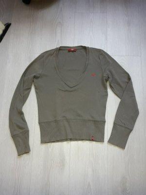 EDC: Langarmpullover mit V Ausschnitt khaki Größe M