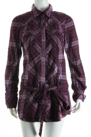 Edc Long-Bluse violett-rosa Karomuster Casual-Look