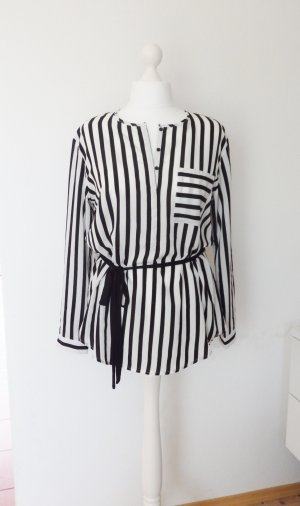 *edc* Long Tunika Bluse Streifen Schwarz Weiß Gr.L