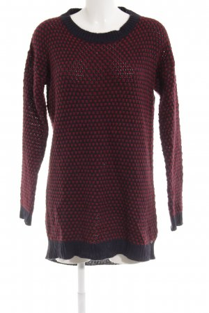 edc Long Sweater dark red-dark blue spot pattern casual look