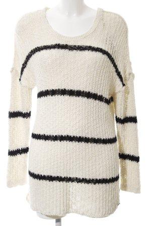 edc Maglione oversize bianco sporco-nero motivo a righe stile casual
