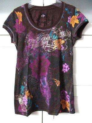 edc Premium Glitzer Print Allover Kurzarm Shirt Gr. XS Braun Bunt