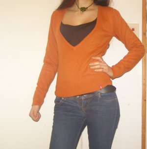 edc Pullover tief ausgeschnitten orange