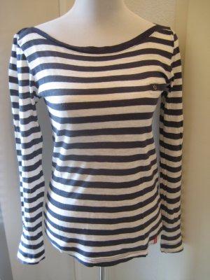 edc by Esprit Stripe Shirt white-dark blue cotton