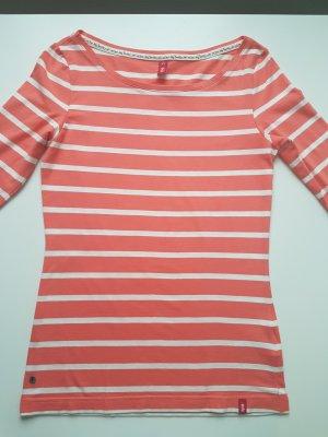 edc T-shirt rayé blanc-abricot