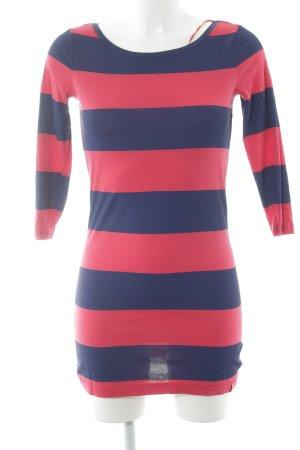 edc Gestreept shirt donkerblauw-rood colour blocking casual uitstraling