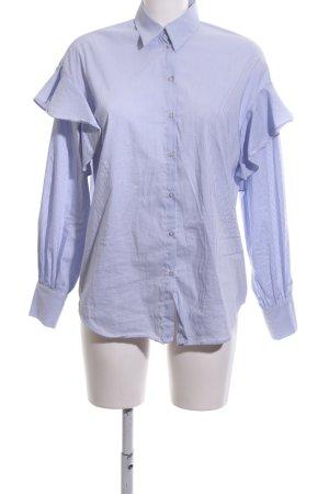 edc Rüschen-Bluse blau-weiß Streifenmuster Casual-Look