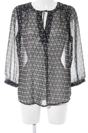 edc Blouse à enfiler noir-blanc Mélange de motifs style décontracté