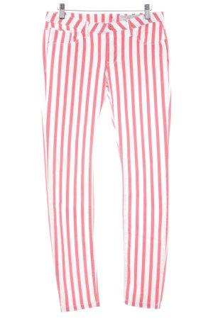 edc Skinny Jeans weiß-rot Streifenmuster Business-Look