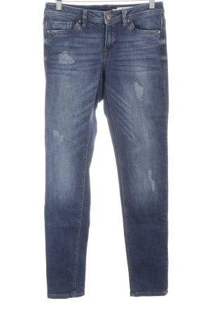 edc Slim Jeans stahlblau Used-Optik