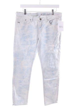 Edc Slim Jeans weiß-himmelblau Batikmuster Used-Optik